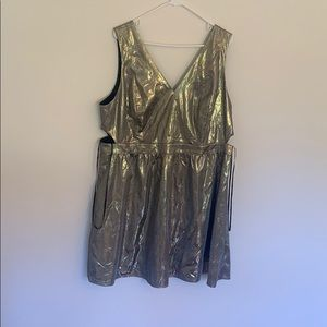 Plus size gold/silver party skater dress